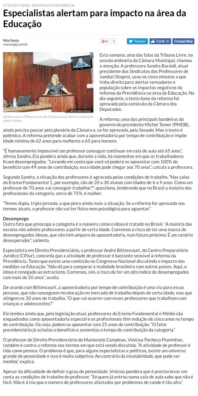Sinpro - Jornal de Jundiaí - 07-05-2017
